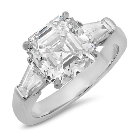 ASSCHER CUT DIAMOND RING WITH TAPER BAGUETTE SIDE STONES IN PLATINUM