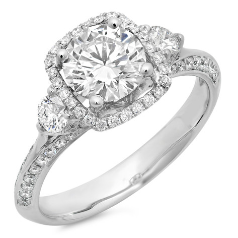 ROUND BRILLIANT CUT DIAMOND W/CUSHION SHAPED HALO THREE-STONE DIAMOND ENGAGEMENT RING