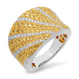 LRC4174 YELLOW & WHITE DIAMOND 14K TWO-TONE WIDE BAND