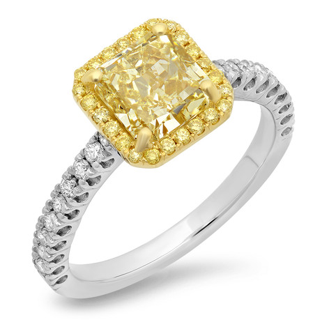 RADIANT CUT IRRADIATED FANCY YELLOW DIAMOND ENGAGEMENT RING