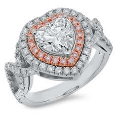 HEART SHAPED DIAMOND RING WITH WHITE & PINK DIAMOND DOUBLE HALO