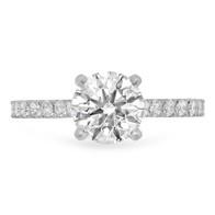 14KWG DIAMOND SOLITAIRE RING W/ DIAMONDS ON BAND
