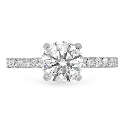 14KWG DIAMOND SOLITAIRE RING W/ DIAMONDS ON BAND