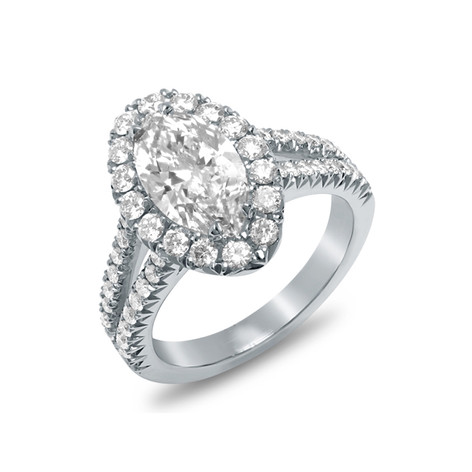 MARQUISE DIAMOND RING W/HALO