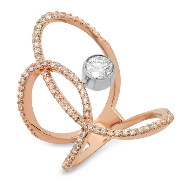 LRC131 DIAMOND KNUCKLE RING IN 14K ROSE & WHITE GOLD