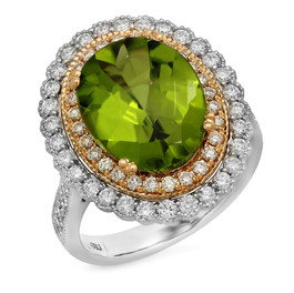 LRC9585 PERIDOT & DIAMOND RING