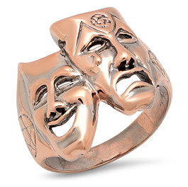 LRC9546 THEATER MASKS RING IN 14K ROSE GOLD