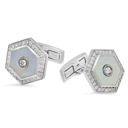 HEXAGON DIAMOND & MOTHER OF PEARL CUFFLINKS IN 14K WHITE GOLD