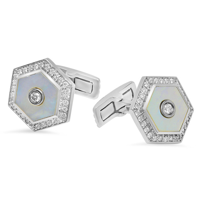 AC113 HEXAGON DIAMOND & MOTHER OF PEARL CUFFLINKS IN 14K WHITE GOLD