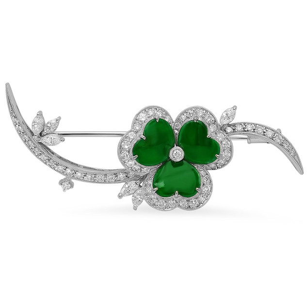 AC102 LUCKY GREEN JADE CLOVER & DIAMOND BROOCH
