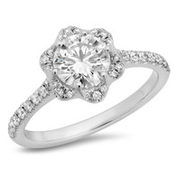 ROUND BRILLIANT CUT DIAMOND FLOWER HALO RING