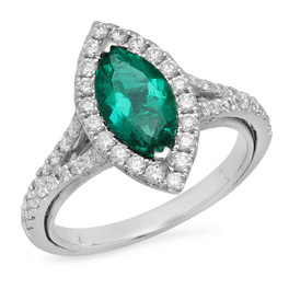 LRC7845 MARQUISE EMERALD & DIAMOND RING IN 14K WHITE GOLD