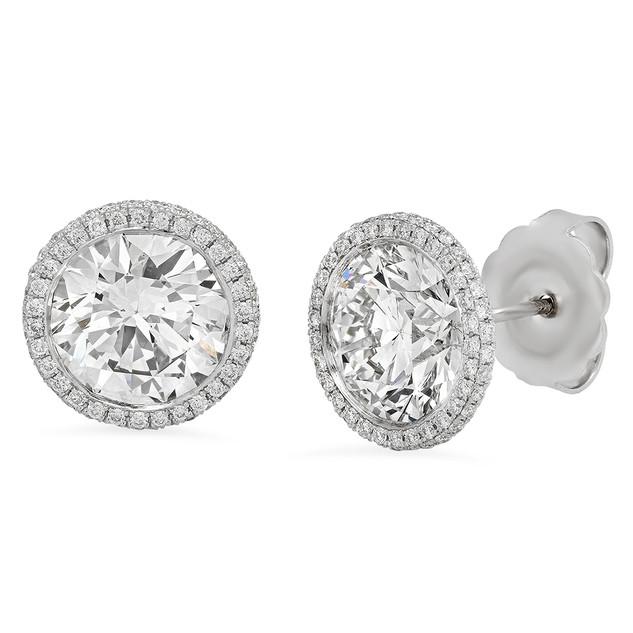 EC1546 WHITE GOLD DIAMOND EARRINGS W/ DIAMOND HALO