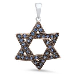 P5656 STAR OF DAVID BLUE DIAMOND PENDANT