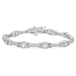BC156 WHITE GOLD ROUNDEL W/DIAMOND BARS BRACELET