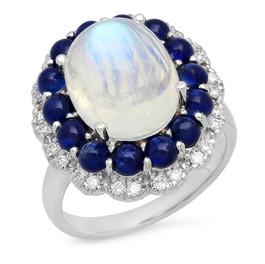 LRC156 MOON STONE RING W/ BLUE SAPPHIRE HALO