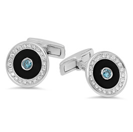 BLUE AND WHITE DIAMOND WITH BLACK ONYX INLAY CUFF LINKS IN 14K WHITE GOLD