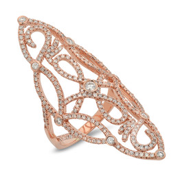 LRC4246 ROSE GOLD DIAMOND OPEN WORK SCROLL KNUCKLE RING