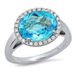 LRC7895 AQUAMARINE DIAMOND RING