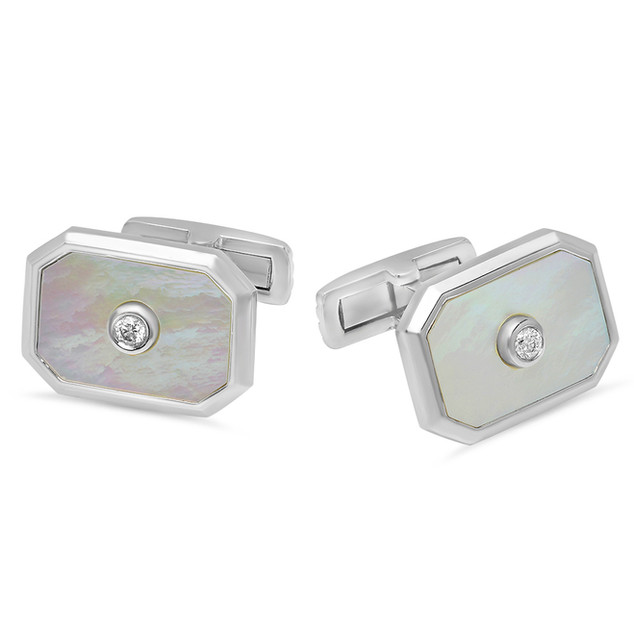 AC112 EMERALD SHAPED MOTHER OF PEARL AND DIAMOND CUFF LINKS IN 14K WHITE GOLD