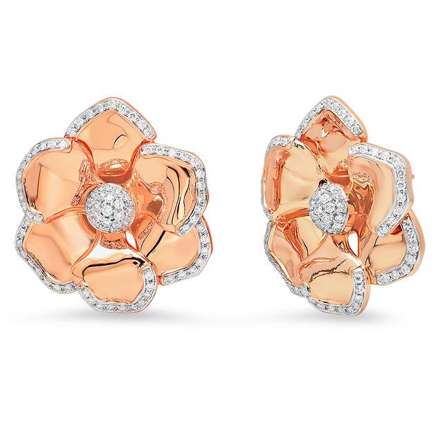 EC5468 DIAMOND FLOWER EARRINGS IN 14K ROSE GOLD
