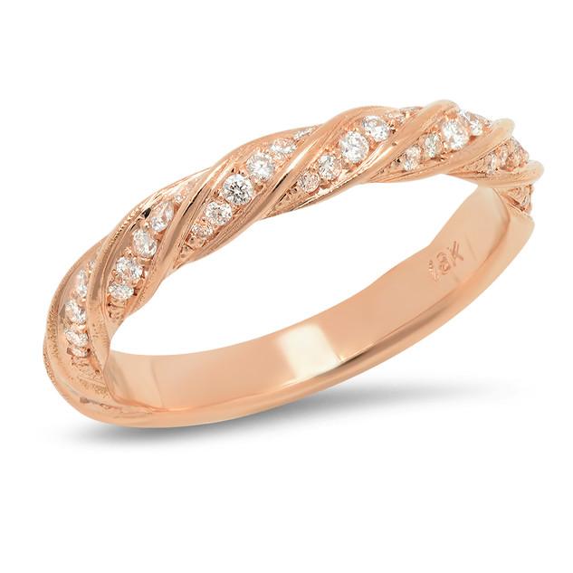 LRC7777 ROSE GOLD DIAMOND TWIST BAND