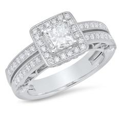 DOUBLE BAND DIAMOND RING W/HALO