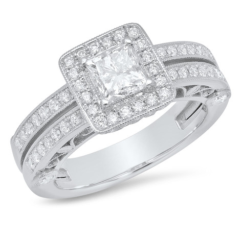 DOUBLE BAND DIAMOND RING W/HALO