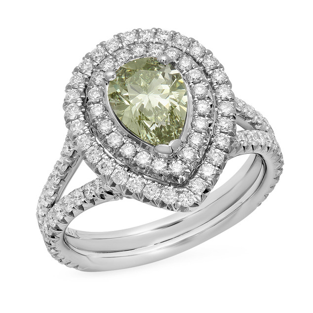 LRC2323 PEAR SHAPE GREEN DIAMOND RING IN 14K WHITE GOLD