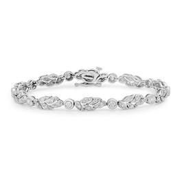 B9161 14K WHITE GOLD DIAMOND LEAF DESIGN BRACELET