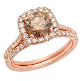 LRC5252 ROSE GOLD NATURAL COGNAC DIAMOND HALO RING