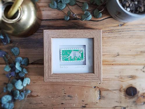 Armadillo Mini Stamp Art   Original Art   Howell Illustration