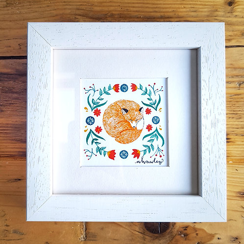 Fox and Folk Art | Original Ink Drawing | Framed