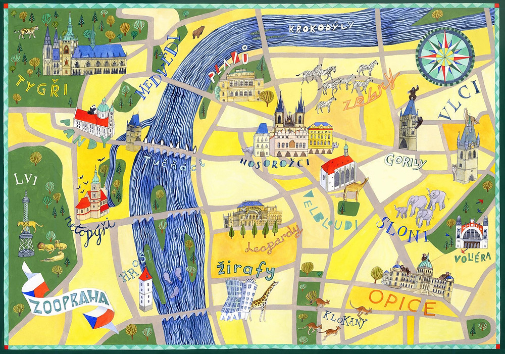 A Hand-Drawn Prague Mashup Map created for 'The Spy Who Dumped Me' and drawn by Helen Cann
