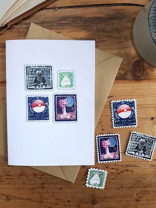 Inktober Stamps Cards | Original Art | Animal | Pop Culture