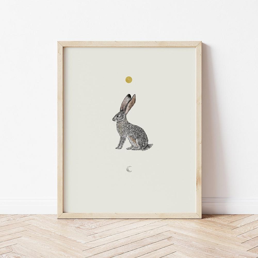 Jack Rabbit artwork by Rhian Davie, framed
