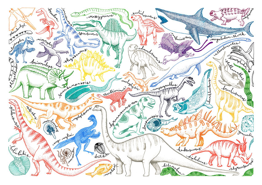 Colourful dinosaurs drawn in pen and ink make up an A3 page with calligraphy identifying each one