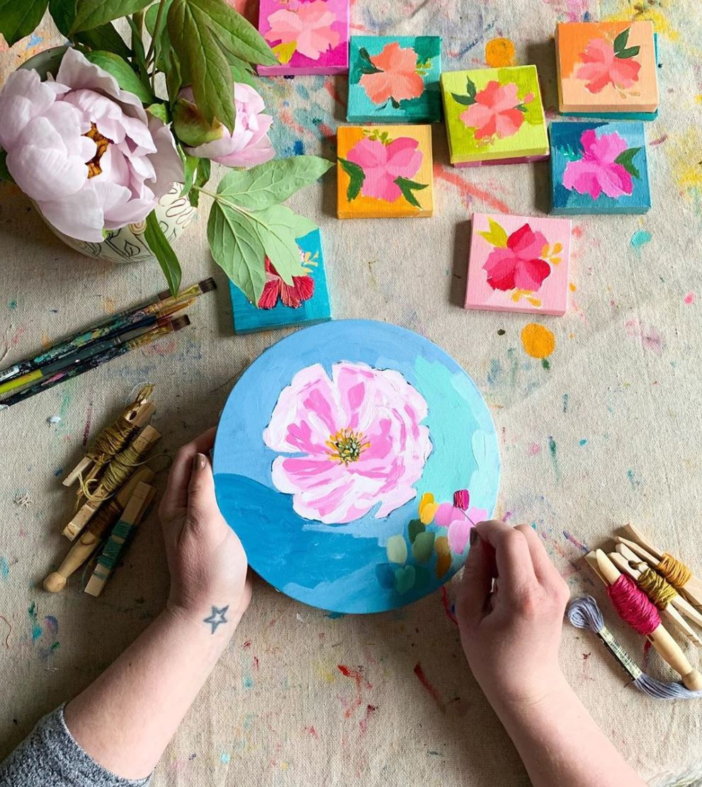 Floral painting and embroidery works in progress by Betsey Ian of Betsey Ian Studio