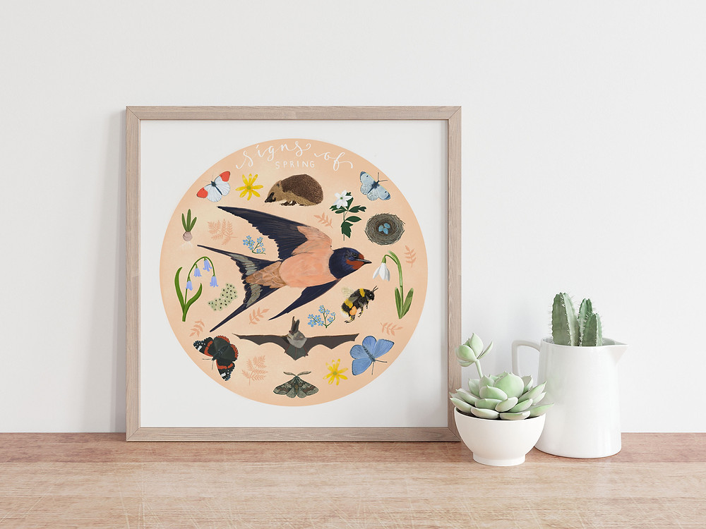 Signs of Spring artwork, professionally printed on eco friendly hemp paper, by Howell Illustration. Signs of Spring: bulbs, bees and snowdrops