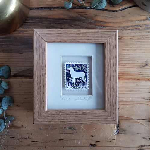 Man and His Dog Mini Stamp Art | Original Art | Howell Illustration