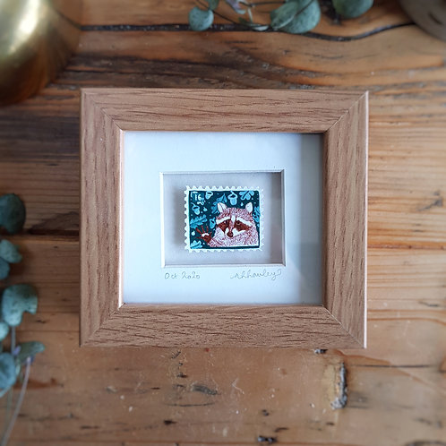 Racoon Mini Stamp Art | Original Art | Howell Illustration