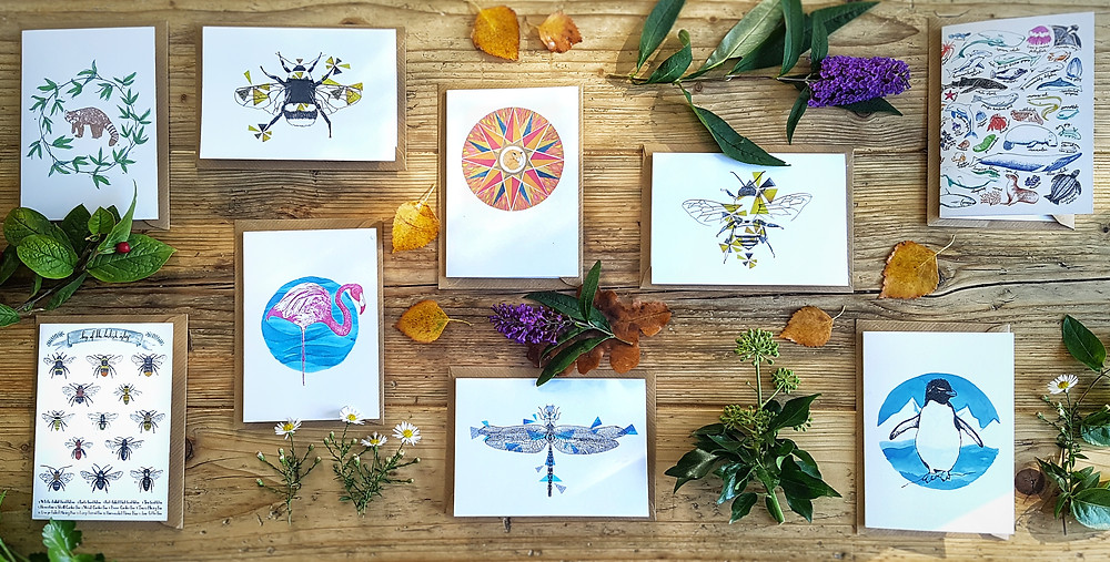 recycled zero waste greeting cards by Howell Illustration