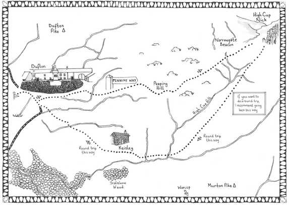 Walk 6, High Cup Nick Walk Map Illustration