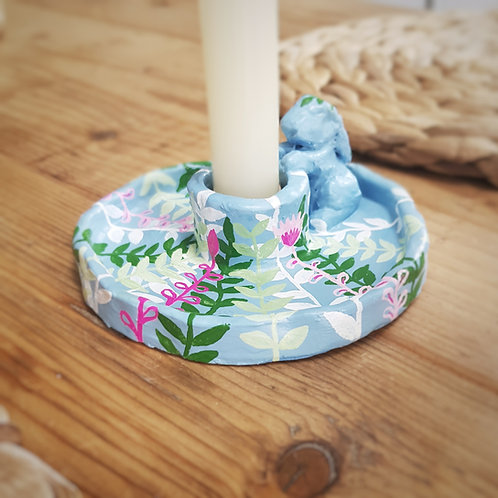 Pretty Blue Floral Bunny Candle Holder