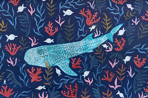 Whale Shark and Folk Art | Original Ink Drawing | Framed