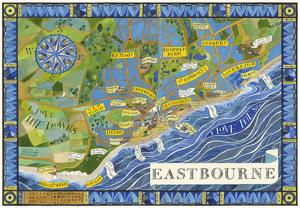 A Hand Drawn map of Eastbourne by Helen Cann