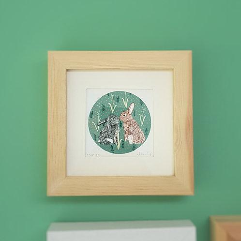 Kissing Rabbits and Folk Art | Original Ink Drawing | Framed