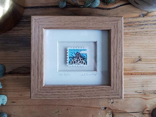 Cottage in the Hills Mini Stamp Art | Original Art | Howell Illustration