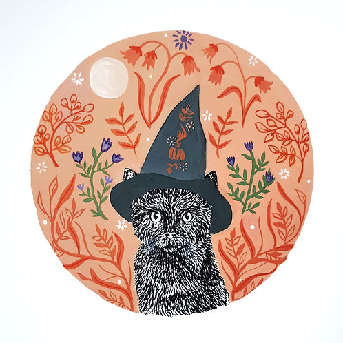 Witchy Cat and Folk Art | Original Ink Drawing | Framed