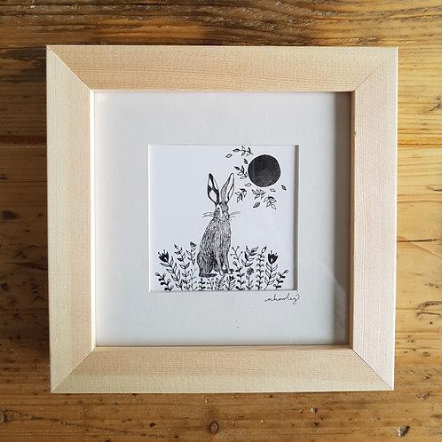 Hare, Moon and Folk Art | Original Ink Drawing | Framed